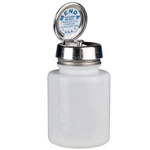Round White Glass Bottle with Pure-Touch Pump, 4 oz - Part No. 35389