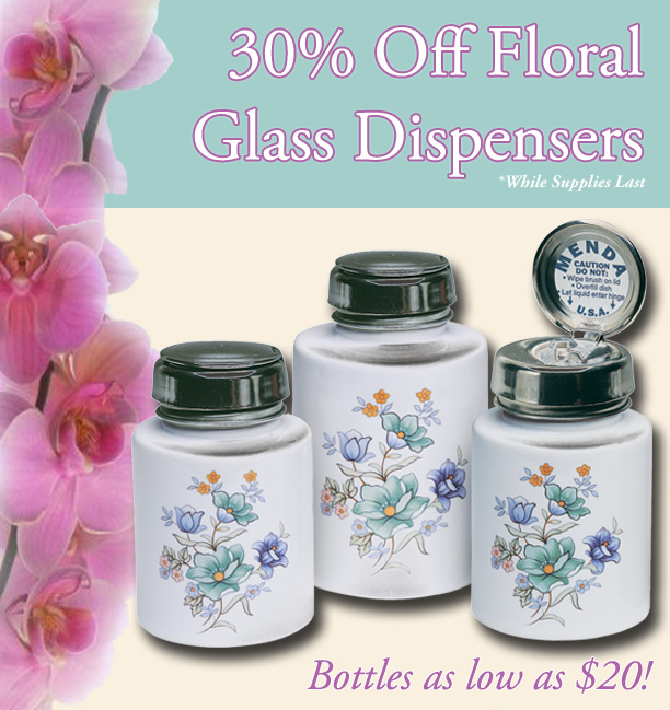 30% Off Floral Glass Dispensers
