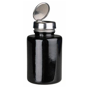 Round Black Glass Bottle with One-Touch Pump, 6 oz - Part No. 35385