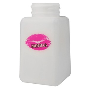 Natural Square HDPE Bottle, 6 oz, Printed with Lips - Part No. 35753